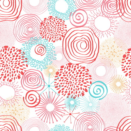 Inky colored circles in seamless pattern. Abstract hand drawn seamless background in doodle style. Vector illustration
