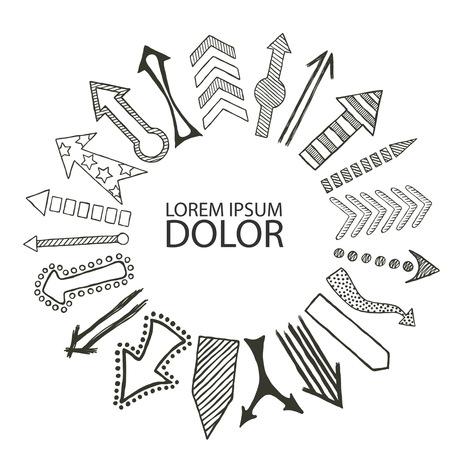 Hand drawn vector illustration of various Arrow in a circular designs directed from center Иллюстрация