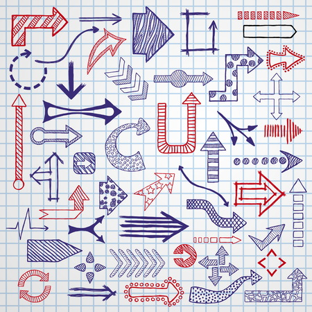 Doodle arrows collection isolated on plain background