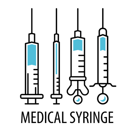 Medical syringe line icons