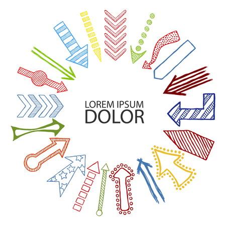 Hand drawn sketched colored Arrows in different shapes directed in center. Doodle multicolor arrows template.