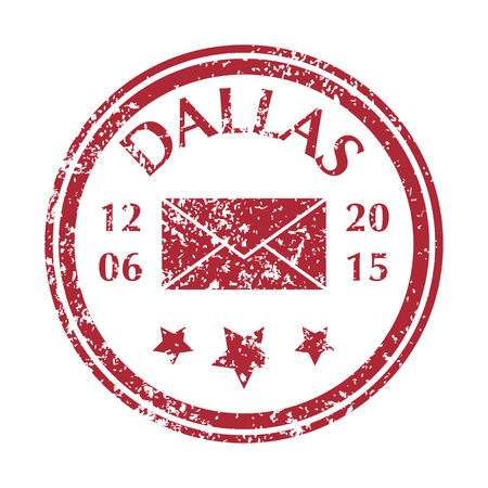 Colored grungy Postal Stamp from Dallas. Isolated vector illustration.