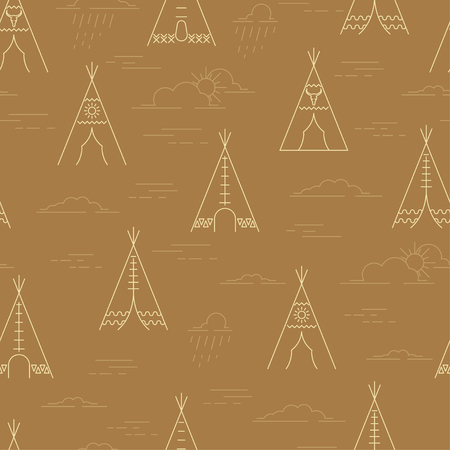 Linear tepee and clouds seamless pattern. Wigwam native american tent background. Vector illustration
