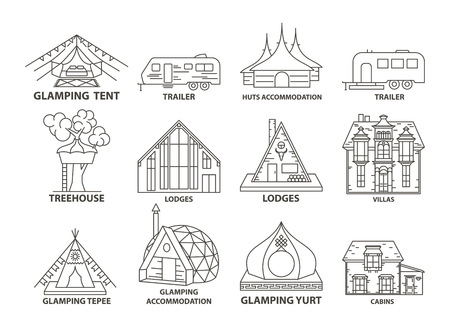 Glamping accomodation line icon set with native indian tepee and treehouse, villa and yurt, lodges and huts. Flat line style glamping travel collection. Vector illustration.