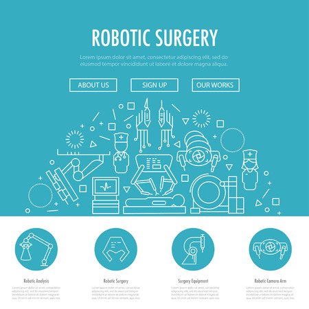 Robotic surgery landing page template in linear style. Robotic assisted surgery future linear template design on blue. Vector illustration