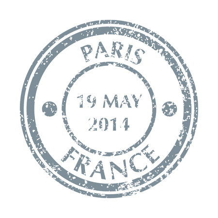 Colored grungy Postal Stamp from France. Isolated vector illustration.
