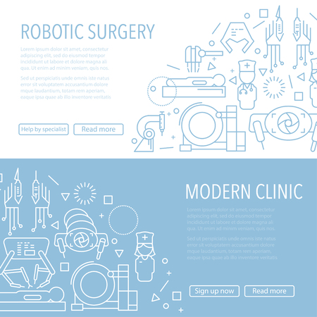 Two robotic surgery banner template in linear style on white and blue background. Robotic assisted surgery future linear template design. Vector illustration