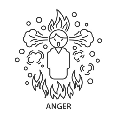Angry line icon. Angry man in linear style. Vector illustration