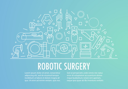 Robotic surgery banner template in linear style on gradient background. Robotic assisted surgery future linear template design. Vector illustration