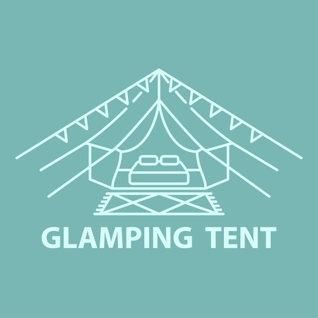 Tent line icon for glamping vacation. Flat line style glamping travel logo. Vector illustration.