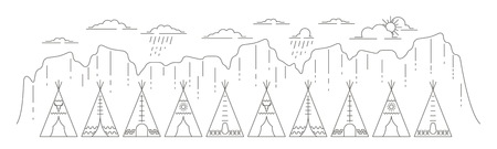 Banner with native indian tepee in linear style. Flat line style glamping travel panoramic banner. Vector illustration.