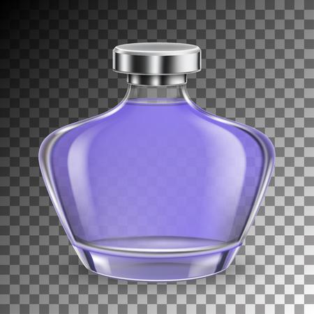 Botella de vidrio de perfume en estilo realista sobre fondo transparente aislado. ilustración vectorial