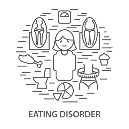Banners lineales para trastorno alimentario. Ilustración de vector de plantilla de trastorno alimentario de salud mental