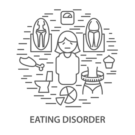 Linear banners for eating disorder. Mental health eating disorder template vector illustration
