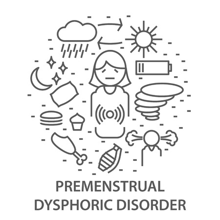 Linear banners for premenstrual syndrome in linear style. Mental health line composition. vector illustration