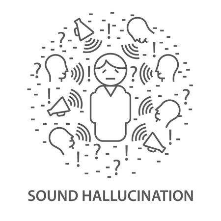 Linear banners for sound hallucination in linear style. Mental health line composition. vector illustration