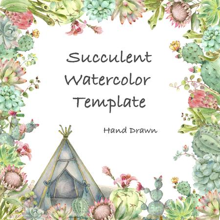 Succulents card watercolor