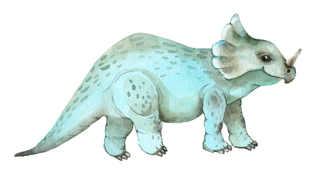 Watercolor dinosaurs triceratops Stock Photo