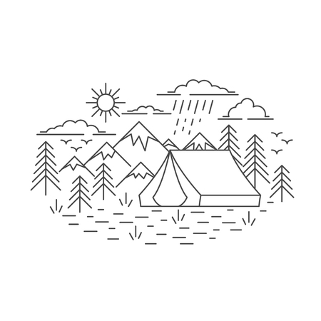 Banner with Mountains and tent, pine tree and cloud sky landscape on white background. Flat line style travel banner. Vector illustration. Ilustração