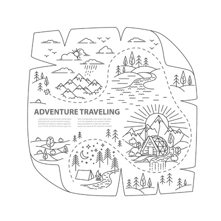 Old map of the treasure. Adventure nature travel. Ready to use template for hiking traveling. Ilustração
