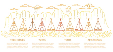 Banner with native indian tepee in linear style for glamping accommodation. Flat line style glamping travel panoramic template with text. Vector illustration. Ilustração
