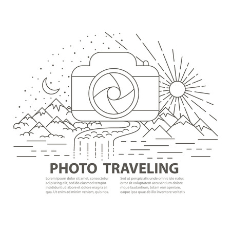 Template banner with photocamera icon adn Mountains, river and forest landscape on white background. Flat line style photo traveling banner. Vector illustration.