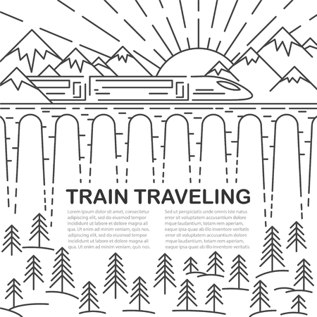 Template for traveling with modern train on bridge, pine tree and mountain landscape on white background. Vector illustration.