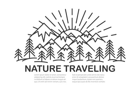 Template banner with sunny Mountains and pine tree forest landscape on white background with text. Flat line style travel banner. Vector illustration.