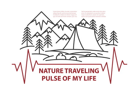 Template with place for text. Travel theme mountains and tent, pine tree and sun landscape on white background. Flat line style travel banner with text Pulse of my life. Vector illustration.