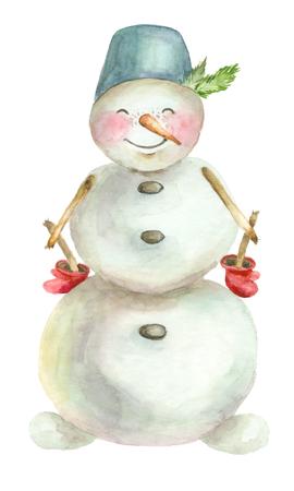 Watercolor merry snowman,