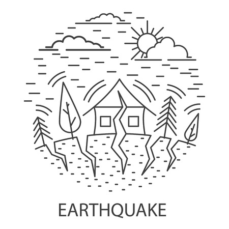 Earthquake Natural Disaster circle banner in linear style. Compositions of Earthquake disaster. Vector illustration.