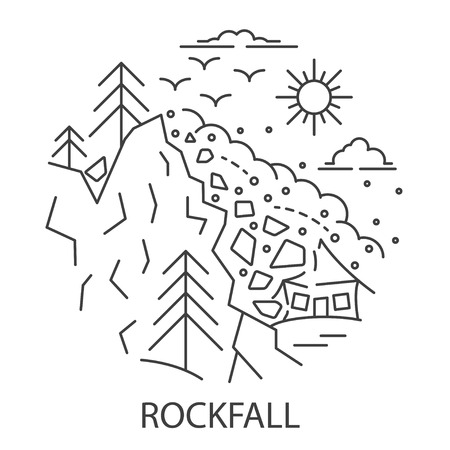 Rockfall Natural Disaster circle banner in linear style. Compositions of Rockfall disaster. Vector illustration.  イラスト・ベクター素材