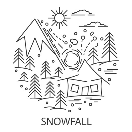 Snowfall Natural Disaster circle banner in linear style. Compositions of snowfall disaster. Vector illustration.