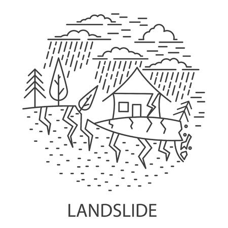 Land slide Natural Disaster circle banner in linear style. Compositions of Landslide disaster. Vector illustration.