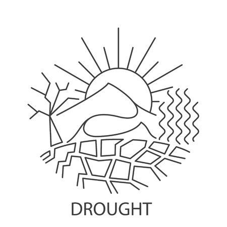Drought Natural Disaster banner in linear style. Compositions of drought disaster. Vector illustration.