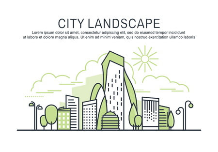 Green city landscape template with text. Linear graphic concept composition. Website design elements of Urban Landscape. City line art for web, advertising, banner, poster, flyer. Vector Illustration