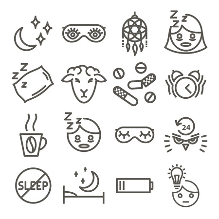 Linear icons for mental disorders of Insomnia. Mental health series - insomnia icons set. Vector illustration