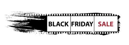 Black Friday Sale grunge banner. Black friday banner with photo frame on ruber brush. Vector illustration Çizim