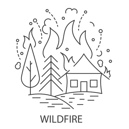 Wildfire Natural Disaster banner in linear style. Compositions of wild fire disaster. Vector illustration.  イラスト・ベクター素材
