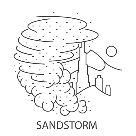 Sand Storm Natural Disaster circle banner in linear style. Compositions of Sand Storm disaster. Vector illustration.