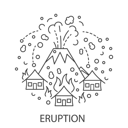 Eruption Natural Disaster circle banner in linear style. Compositions of eruption disaster. Vector illustration.