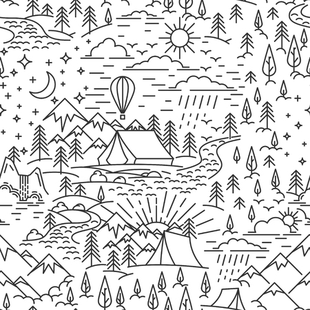 Seamless pattern from lineart elements of nature travel theme. Mountains and tent, pine tree and waterfall landscape. Day and high sky. Flat line style pattern for camping. Vector illustration. Çizim