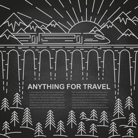 Plantilla para viajar con tren moderno en puente, pino y paisaje de montaña en pizarra negra. Ilustración vectorial. Ilustración de vector