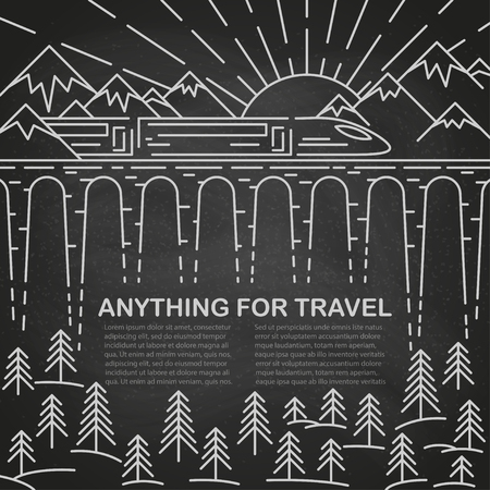 Template for traveling with modern train on bridge, pine tree and mountain landscape on black chalk board. Vector illustration. Ilustração