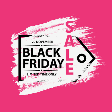 Black Friday 29 november 2019 Sale grunge poster with frame. Black friday banners with grunge brush on pink background. Vector illustration