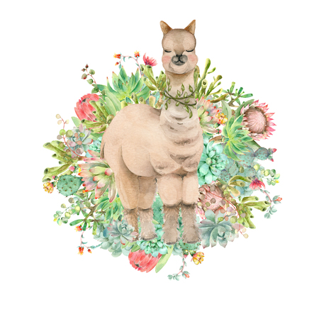 Desert Alpaca banner watercolor 写真素材 - 124953370