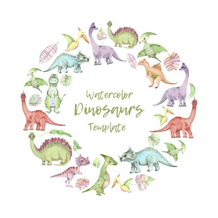 Watercolor dinosaurs template Imagens