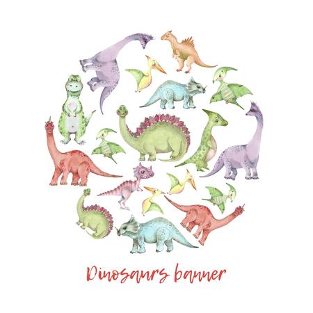 Watercolor dinosaurs banner Imagens