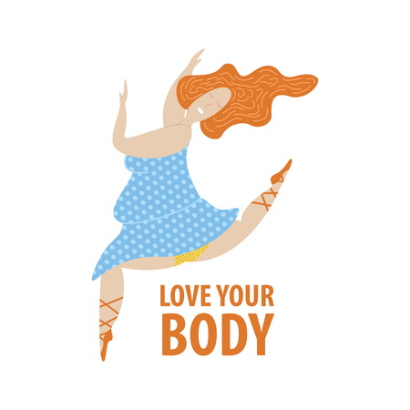 Plus size ballerina in blue dress. Body positive concept. Flat vector illustration isolated on white background.