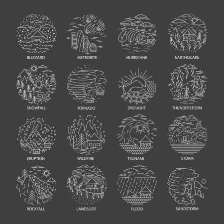 Natural disaster icons collection Illustration